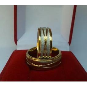 Par Aliança Aço Inox Prata 8mm Banhada A Ouro Noivado Barata