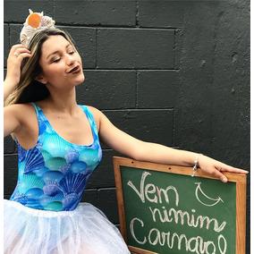 Body Maiô Conchas Carnaval Verão Fantasia