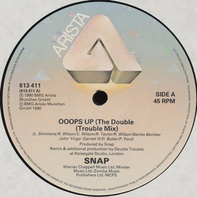 Snap! - Ooops Up ( The Double Trouble Mix) Vinilo Maxi Uk 90