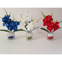 Mini Arranjo De Flores Artificiais, Em Base De Vidro Cada