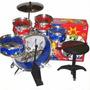 Bateria Musical Niños 5 Tambores + Baquetas + Bombo + Pedal