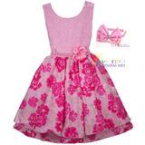 Vestido Aniversário Infantil Baby Rosa Floral Festa + Tiara
