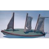 Antiguo Velero Barco Juguete De Madera Alemán 3 Mástiles