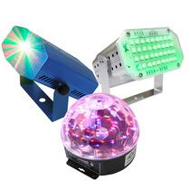 Kit Luces Disco Audio Rítmico Efectos Bola Led Lasermini Y C