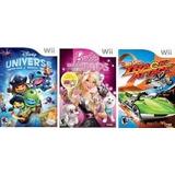 Game Wii Pacote Disney Universe, Hot Wheels, Barbie G Pups