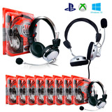 Kit 7un Fone De Ouvido Headset Gamer P2 Ps3/ps4/pc/xbox