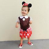 Fantasia Minie Mouse Festa Luxo Importado Vestido Com Tiara