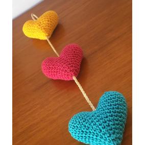 25 Colgantes Corazón Crochet Deco Souvenir Venta Por Mayor ... 96d36c19256