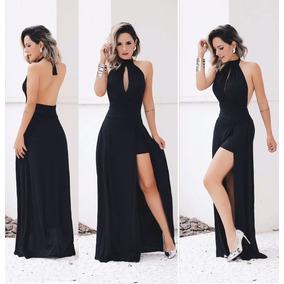 Vestido longo preto decote v