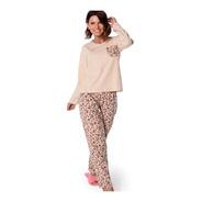 Pijama Longo Poeme Demillus 285128 Malha 100% Algodão