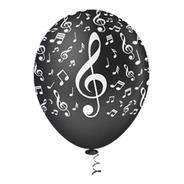 Balão Bexiga Notas Musicais Branco Com Preto Tam.10 25 Unid.