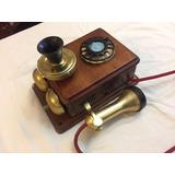 Telefono Antiguo De Pared Madera Noble Y Bronce