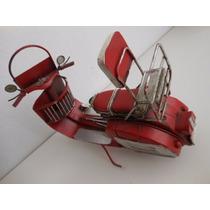 Miniatura,réplica, Antiga Moto Scooter Wespa Retrô Em Metal