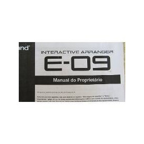 Manual Do Tecado Roland E09 Impresso Em Portugues Encadernad