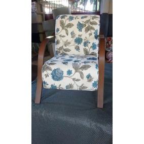 Poltrona Decorativa, Cadeira Braços Madeira Puf