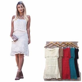 Vestido Tomara Que Caia Babado Crochet Tricot Lançamento
