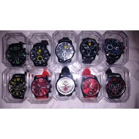 Kit C/10 Relógios Masculino Silicone+caixas Acrílica Atacado