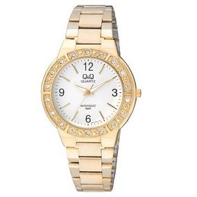 Reloj Pulsera Mujer Regalo Q&q Original Acero Dorado Cristal