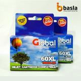 Combo Cartuchos Global Hp 60xl Negro/color F4280 4480