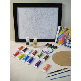 Set Pintura Oleo, Kit Arte, Pintar León Colores Con Marco