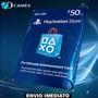 Cartão Psn $50 - Playstation Network Card $50 - Ps4 Ps3 Psp
