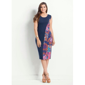 Vestido Midi Moda Gospel Elegante Floral Estampado