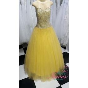 Vestido Debutante Amarelo Pronta Entrega