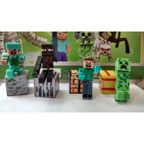 Kit Minecraft 12 Peças Boneco Com Articulação Brinquedo