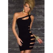 Moda Sexy Mini Vestido Negro Con Aberturas Al Costado Fiesta