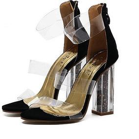 Sandalia Transparente Acrilico - Salto Com Glitter Linda!!