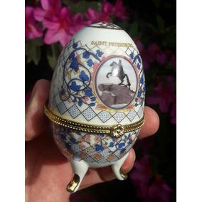 Antiguo Huevo Fabergue Porcelana Filetes Oro.. Saint Peter