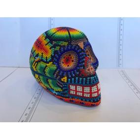 Arte Huichol Calavera Cráneo Con Venado Rosa Costado.