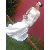 Vestido De Noiva Off White Modelo Sereia De Manga Comprida