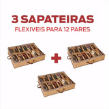 Kit Com 3 Sapateira Organizador Sapato Flexível 12 Pares