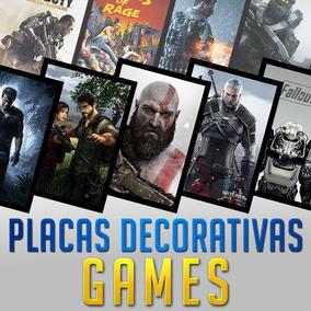 Placas Decorativas Games Ideal Para Quarto Gamer 20x28cm