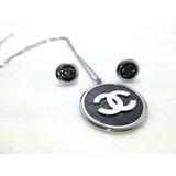 Juego Collar Y Aretes Tipo Chanel Negro Con Plata.