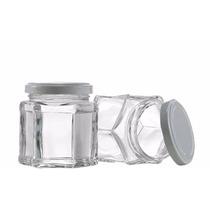 Pote De Vidro Sextavado Geleia /condimentos C/ Tampa Wheaton