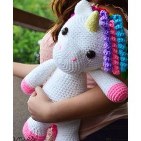 Unicornio Muñeco Amigorumi Crochet Tejido Mano 38 Cm