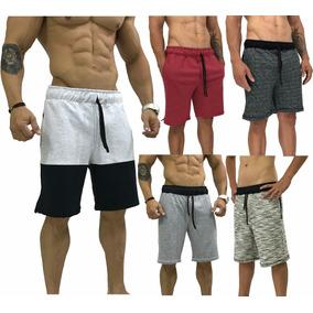 5 Bermuda Moletom Masculino Moletim Bermuda Shorts Slim Fit