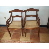 (sergioschw) Par De Cadeiras Braço Palhinha Rabo Macaco