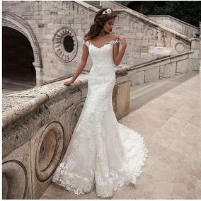 Vestido De Noiva Sereia Trompete Calda Longa Renda Bordado