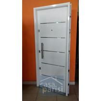 Puerta De Seguridad Epoxy Blanca Chapa 18 3 Cerraduras 80cms
