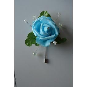Azar Novio Boda Boutonniere Elegante Rosa Azul Cristales