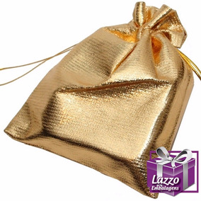 100 Embalagens Para Brincos Saquinho Em Lame Dourado 7x9cm
