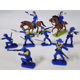 Soldados União Gulliver 08 Homens 02 Cavalos Pintados À Mão