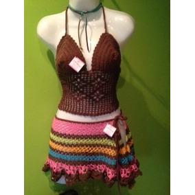 Faldas Pareos Short Crop Top Traje De Baño Tejidos Crochet