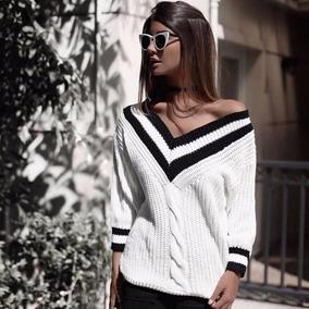 Blusa Gola V Tricot Croche College Blog Insta Moda Frio 2017