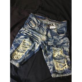 Bermuda Short Jeans Degrant Masculina Rasgada Sawary 4