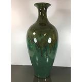Jarrón Vintage Grande Porcelana Policromada Verde China