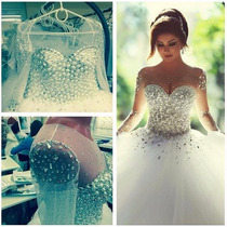 Vestido De Noiva Branco Luxo Com Lantejolas Pedrarias Strass